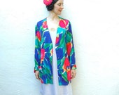 1980s Vintage Floral Blazer... Tropical Floral Jacket... TAKE Me To TAHITI (m)