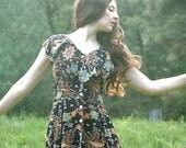 Batik Maxidress.... Made In India..... Black Batik Floral Print... DARLING DARJEELING  (s)