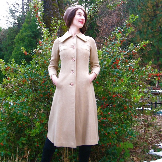 Vintage TRANSCONTINENTAL 70s Long Fitted Wool Jacket (XS)