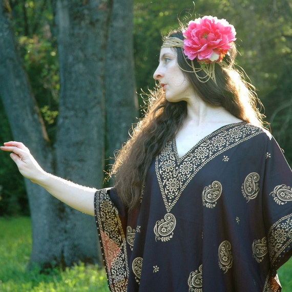 Boho Caftan... Black and Gold Paisley Print... Mini Kaftan... GOLDEN PAISLEY (m/l)
