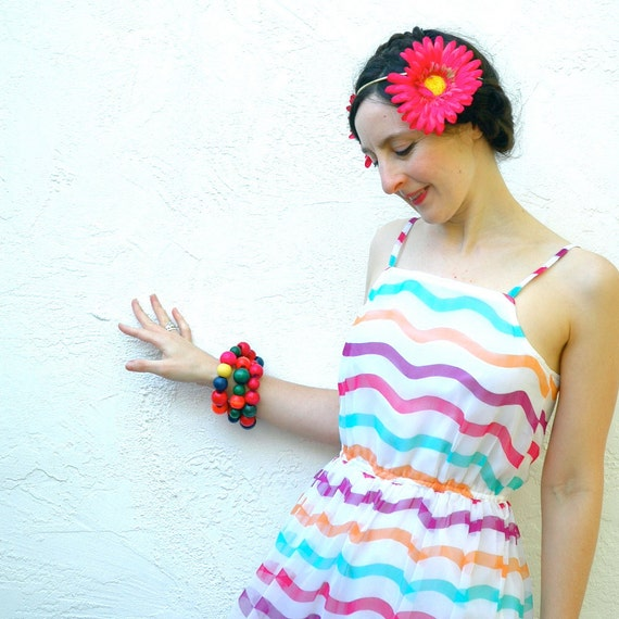 Rainbow Striped Dress... 80s Vintage Striped Spring Dress... CANDY STORE (s/m)