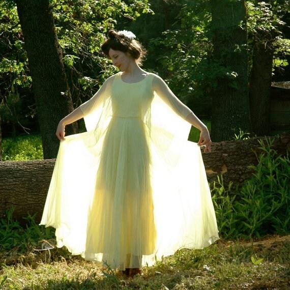 S A L E..... Vintage 1970s Evening Dress... 70s Yellow Maxidress.... Accordion Semi Sheer Sleeves.... LEMON MERINGUE (s)
