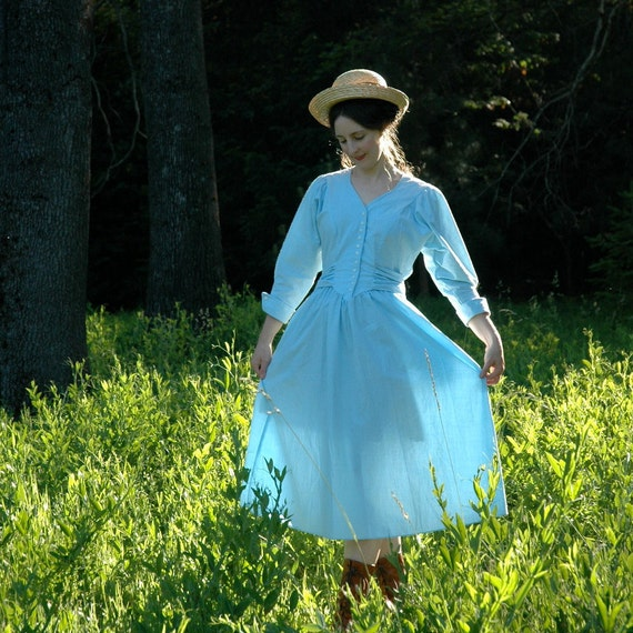 SALE... Cotton Maxi Dress... Vintage 80s Pale Blue Day Dress... Big Bow In Back... HELLO SAILOR (s/m)