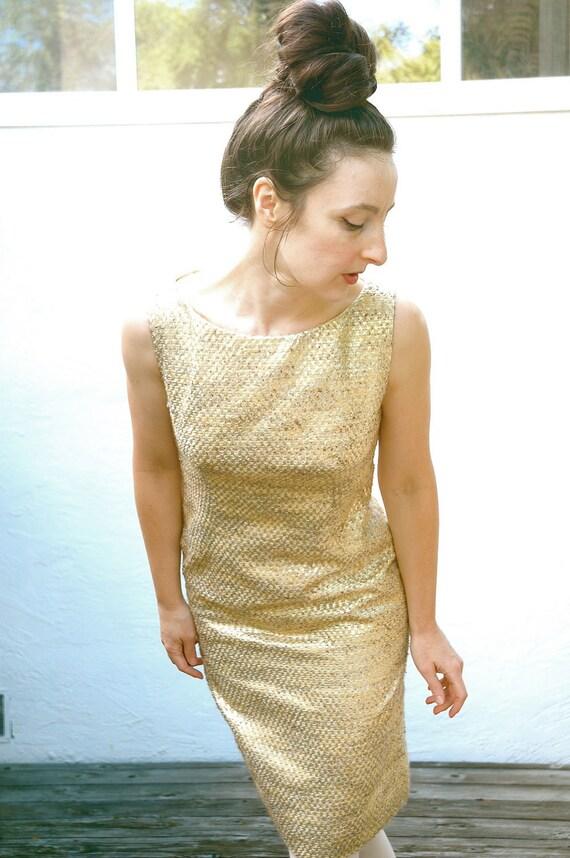 R E S E R V E D.... do not buy.....1960s Gold Wiggle Dress... 60s Vintage Mini Dress... Sleeveless Party Dress.... GOLD Dust LOUNGE (s)
