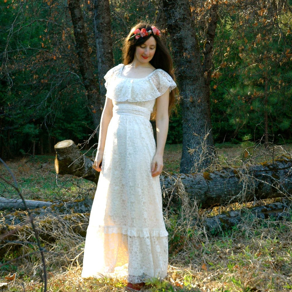Vintage white lace maxi dress bohemian wedding dress for Lace maxi wedding dress