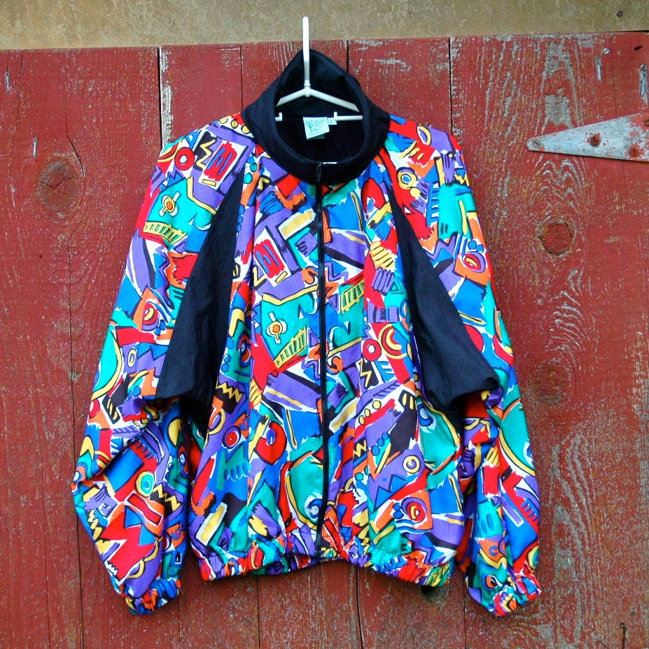 80s/90s Windbreaker... Posh Multicolor Jacket... Activewear