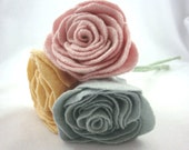 Easter Pastels Upcycled Rose Flower Bouquet Stems in Pale Pink Baby Blue and Yellow Merino Wool Felt