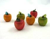 Set of Six Small Painted Wooden Apples Teacher Gift Farmers Market Windowsill Decoration Country Kitchen Green Yellow Red