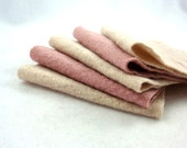 Dusty Rose Pink and Cream Upcycled Sweater Wool Felt Fabric