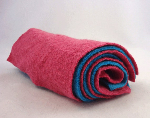 Beautiful Candy Pink and Turquoise Teal Upcycled Wool Sweater Felt Fabric Squares