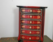 Lovely Red and Gold Painted Musical Jewelry Box
