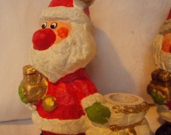 Pair of Santa Candleholders made in Japan by Star