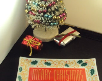 Vintage Merry Christmas Glass Tray