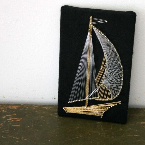 Vintage Tiny Metallic String Art Sailboat String Art
