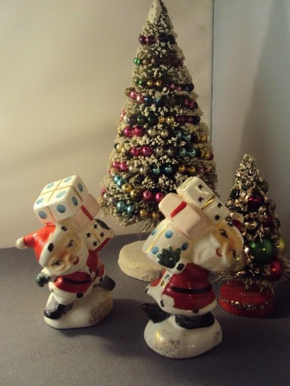 Santas Carrying Presents Salt and Pepper Shakers