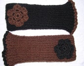 Wrist Warmers Hand Knitted Brown Black by HecketyBeckety on Etsy