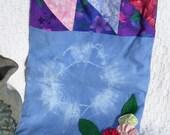 Shoulder Bag Blue Tie-Dye Purse with Yo-Yo Flowers by HecketyBeckety on Etsy