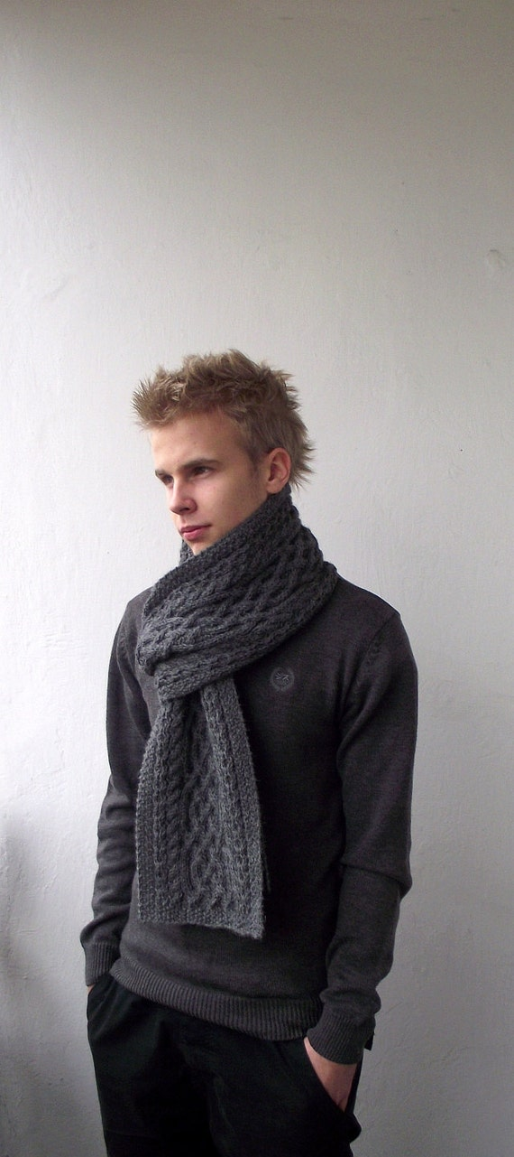 Dark Grey hand knitted men long scarf with celtic by DagnyKnit Hand Knitted Men's Scarves
