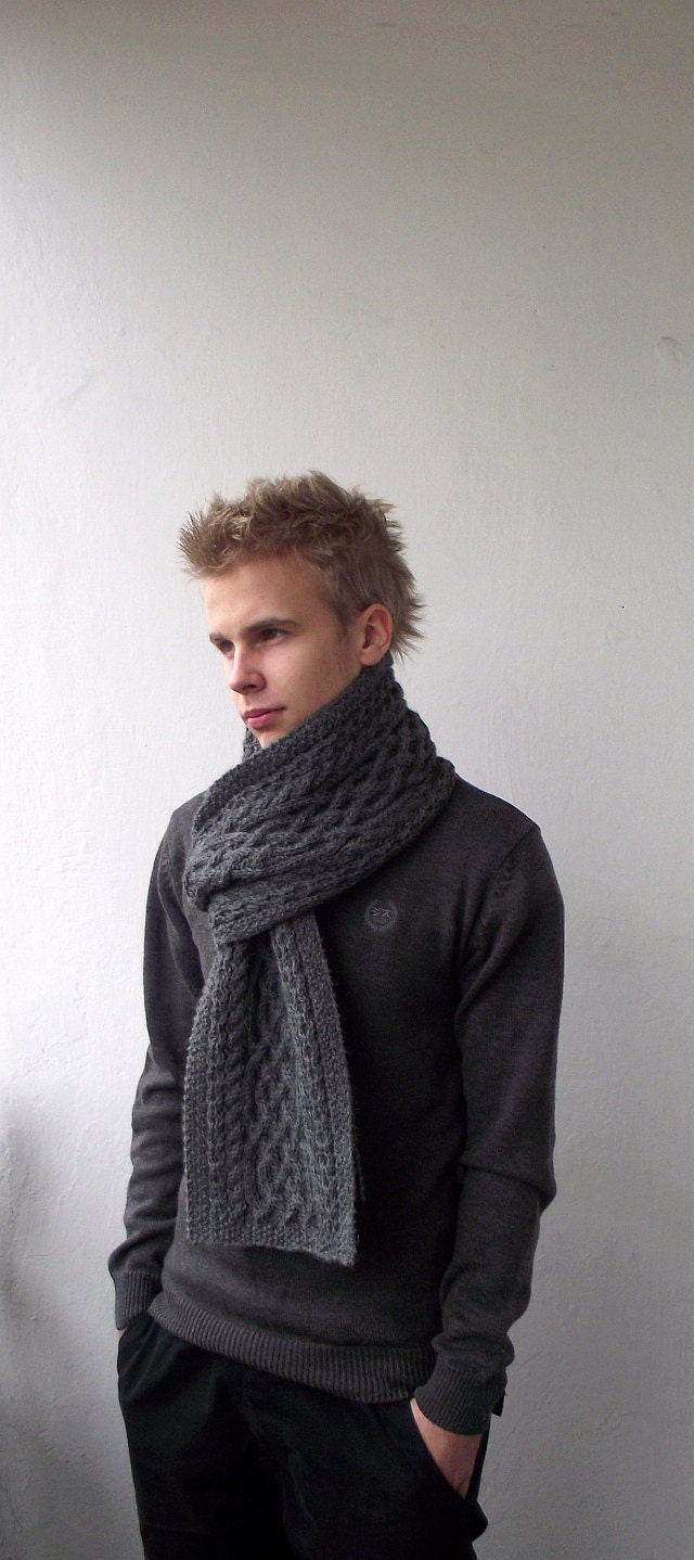 Dark Grey hand knitted men long scarf with celtic by DagnyKnit Hand Knitted Scarves For Men