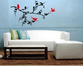 Vinyl Wall Decal ---Birds on branches 2 (available in reversed image)----Wall Art Home Decor Murals Vinyl Decals Stickers Murals