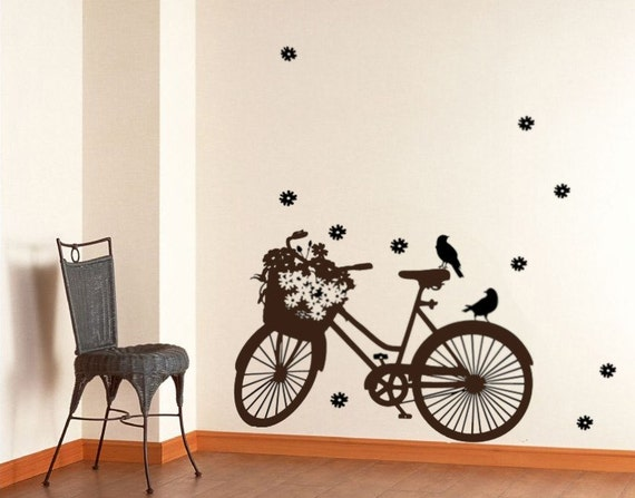 Items Similar To Vinyl Wall Art Decal Bicycle Wall Art