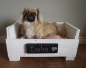 Salvaged wood Pet Bed - White and Coral - Made to order