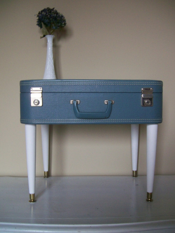 Vintage Luggage Table - Upcycled Suitcase - End/Side Table - Eco ...