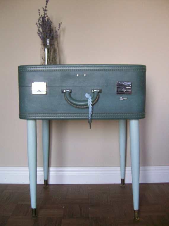 upcycled vintage suitcase side end table eco earth friendly