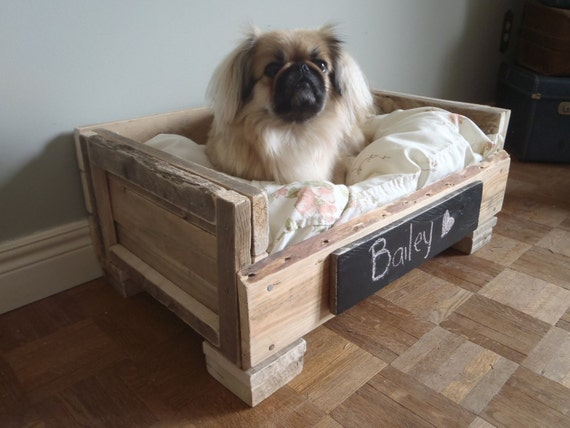 RESERVED Reclaimed Wood Pet Bed - Natural and White Floral - 2 Dollars goes to LAPS animal protection