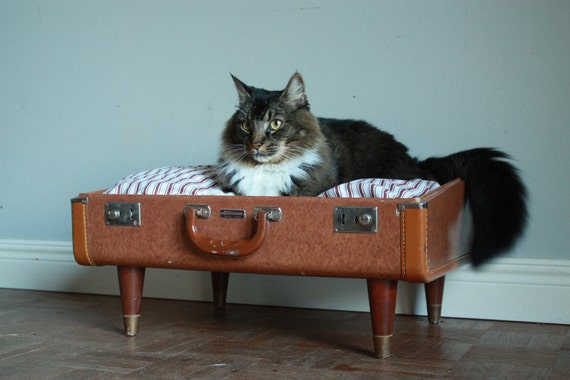 Free Shipping Cozy Cargo Suitcase Pet Bed - Brown and Stripes  - Upcycled Luggage