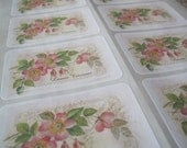 Personalized Flower Labels -  Antique Image Flowers, Honeysuckle Pink and Green -  16 Large Labels