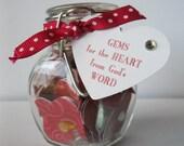 Jar of Encouraging Scripture - Vintage Handmade - Gems for the Heart - Religious, Christian, Inspirational, Gift