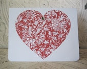 Engraved Heart Notecard - 1 Nostalgic Engraved Red Heart Card - Love Forever