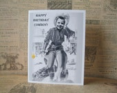 Happy Birthday Cowboy Notecard - 1 Juvenile Birthday Card - May be customized with your little cowboy's face for Birthday Invitations