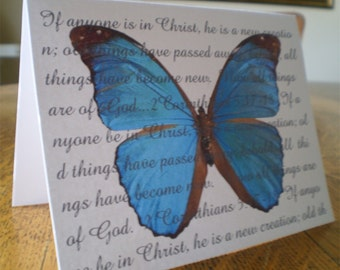 Blue Butterfly Notecards - A New Creation - Colbalt Blue Butterfly Notecard - 1 Card
