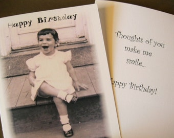 Happy Thoughts Birthday Notecard in sepia with pink tones - Vintage Inspired - 1 Card