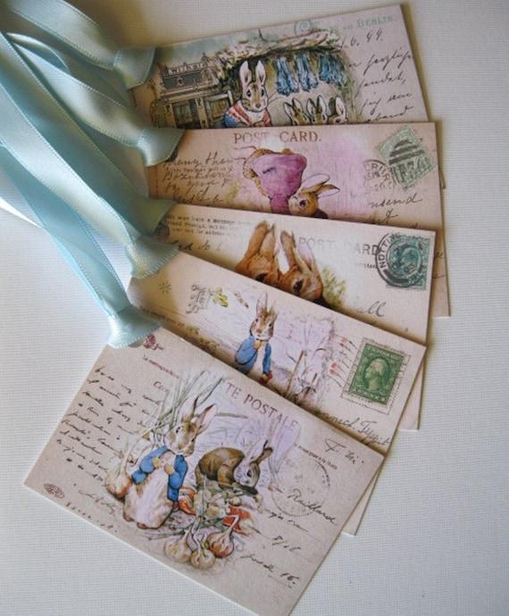 Peter Rabbit  Gift Tags - Beatrix Potter's Peter Rabbit and Benjamin Bunny - hangtags, gift bag tags - 5 Hangtags - Set 1