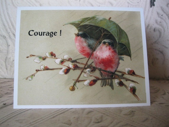 Birds Notecard -  Thinking of You Vintage Inspired Courage Notecard - 1 Card of Encouragement