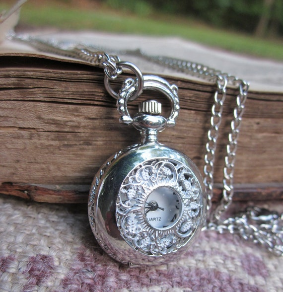 Silver Tone Victorian Style Ladies Pocket Watch Necklace