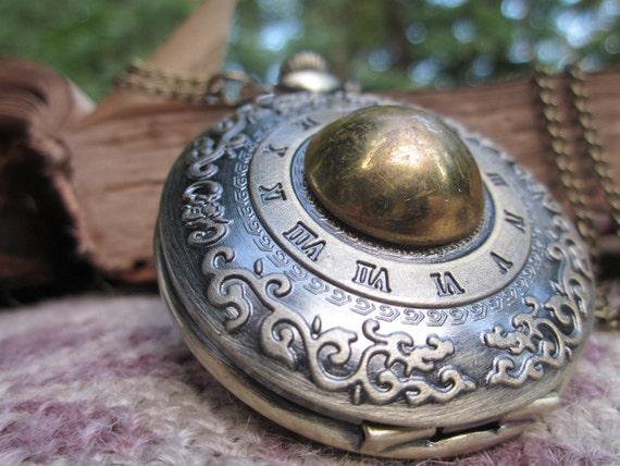 Antique Button Victorian Style Ladies Pocket Watch Necklace