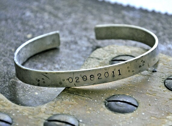 MANLY MAN - for the GUYS - personalized, custom, hand stamped, sterling silver, rugged, hammered, industrial cuff