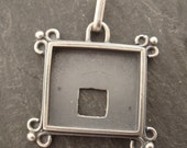 Square Sterling Silver Pendant-- ideal for polymer and resin work