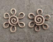 Small Filigree Flower Earring Component