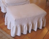 Ottoman Slipcover in distressed canvas