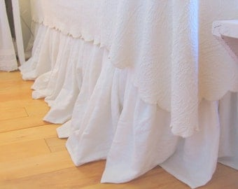 The Anabelle Linen Dust Ruffle Queen size