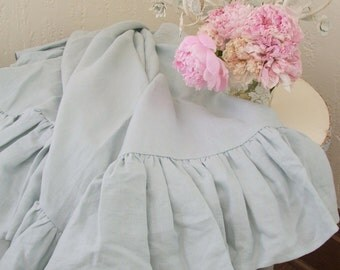 Shabby Chic Ruffled Linen Throw in French Blue