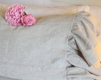 The French Prairie Collection Ruffle Pillowcase in Natural Linen King Size