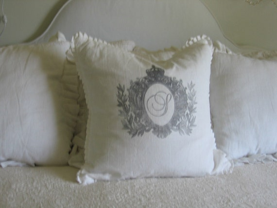 monogram ruffle pillow