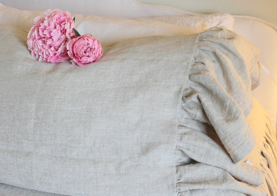 The French Prairie Collection Ruffle Pillowcase in Natural Linen