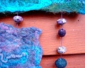 Felt Wall Hanging Mobile- blue purple with beads and felt balls